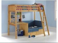 Thuka high sleeper kids bunk bed cabin Bed with desk and futon, used for sale  Eastville, Bristol