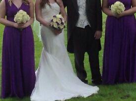 Bridal fishtail design ivory wedding dress