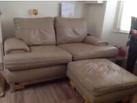 2Seater light brown leather sofa&foot stool