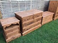 Beautiful 3 piece solid pine refurbished bedroom set - chest/dresser, bedside cabinet and trunk!