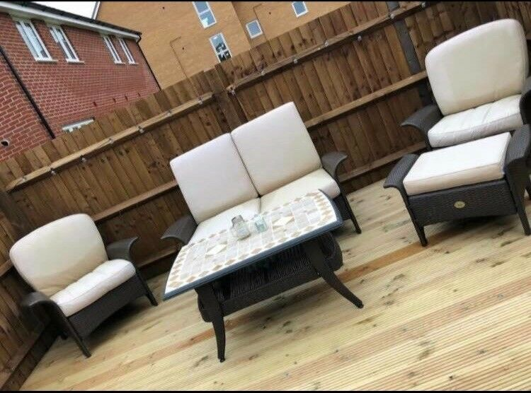 Harbo Garden Furniture Set   Includes 1 Sofa, 2 Armchairs, 1 Footstool U0026  Table
