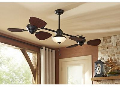 Designer Double Ceiling Fan Bronze 6 Blade In/ Outdoor Downrod Mount w Light Kit