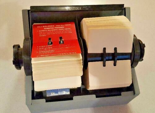 ROLODEX 2400 Grey Metal Twin/Dble Rollers Index Card File W/cards & Alpha Tabs
