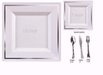 Bulk,Dinner/Wedding Disposable Square Plastic Plates silverware Silver or Gold