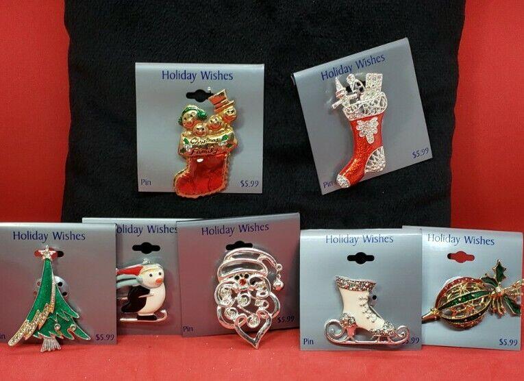 Christmas Pin Brooch Jewelry Lot Stocking Tree Santa Ornament Ice Skate 7 NEW