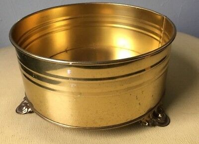 VINTAGE  BRASS FOOTED CONTAINER/PLANTER MADE IN HOLLAND BY NIJHOF ZEVENAAR