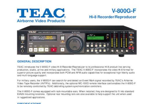 Teac V-800G-F Hi8 8mm Tape Deck Brochure & Instruction Manual - Free Shipping!