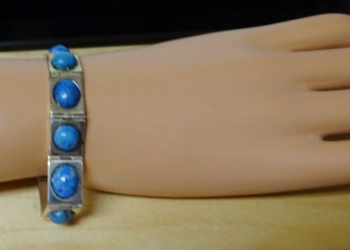 Sterling Silver Bracelet With Oval Blue Sodalite or Lapis Settings - Retired QVC