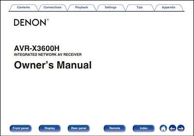 Denon AVR-X3600H AV Receiver Owner's Manual - Operating Instructions -Full Color