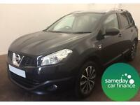 £256.12 PER MONTH BLACK 2012 NISSAN QASHQAI+2 1.5 N - TEC 7 SEATS DIESEL MANUAL