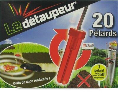 Batch 20 Firecrackers LE DETAUPEUR Anti Moles Rat Taupier Taupe