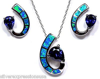 Tanzanite & Blue Fire Opal 925 Sterling Silver Pendant Earrings set Necklace