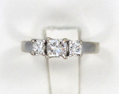 14kt Solid White Gold 3 Stone Princess Moissanite Engagement Ring Sz 8 3.3 Gr
