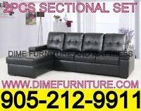NO TAX 2PCS BONDED LEATHER SECTIONAL SET $449