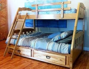 SOLID WOOD BUNK BED SINGLE OVER DOUBLE