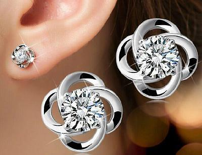 925 Silver Earrings Crystal Ear Stud Elegant Womens Fashion Jewelry Xmas Gift