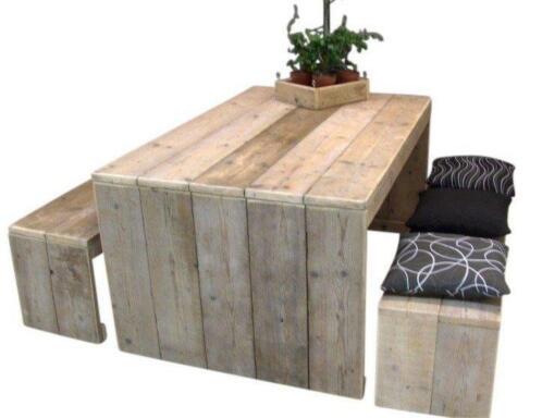 ≥ tafel van steigerhout met dichte zijkanten model karwei