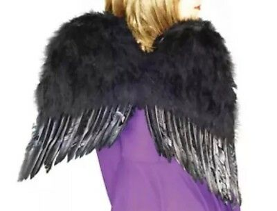 "Large Feather Costume Dark Angel Black Swan Wings 22"" NEW In Package](Large Black Feather Wings)"
