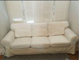 White IKEA Ektorp 3-seat sofa