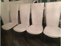 White dining chairs 4 plus 1