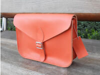 Oxford Satchel - Real Leather - Orange - Vintage Shoulder Handbag Handmade in Cambridge UK