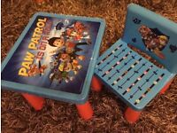 Kids table and chair. Paw Patrol