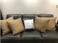 Gold and Silver Woven Geometric Jacquard Pillows