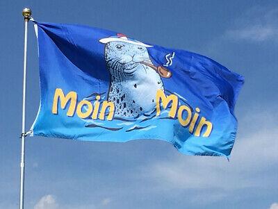 Moin Moin Flagge 90x150 cm XL Fahne Seehund mit Pfeife Spass Flagge NEU