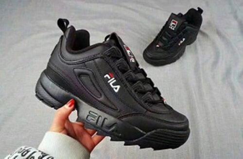 FILA Schuhe niedrig Leder oder Faux Disruptor schwarz Weiß lackiert Sneak Neu DE