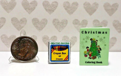 """Dollhouse Miniature Coloring Book for Christmas with """"Crayons""""  1:12"""