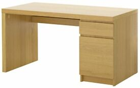 Ikea Malm desk in Oak Veneer