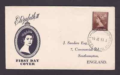 Tokelau Islands 1953 FDC 1st day cover to England QE II Coronation Sanders