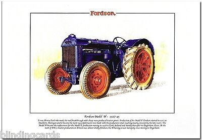FORDSON MODEL N TRACTOR - Agricultural Fine Art Print A4 size - Produced 1927-45