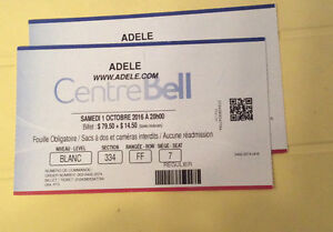 2 billets physiques Adele centre bell section rouge $175 chaque