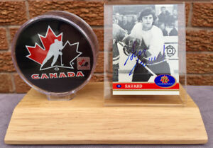 Serge Savard 1972 Team Canada autographed signed card plus puck