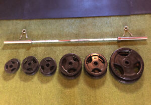 Olympic Bar & Weight Plate Set