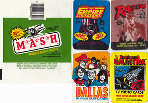 5 Non-Sports BUBBLE GUM USED WAX WRAPPERS STAR WARS MASH DALLAS
