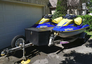 Low Hours pair 2006 Seadoo GTI-SE  with Triton aluminum trailer