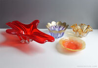CHALET MURANO ART GLASS CENTERPIECE RED + CLEAR CRYSTAL