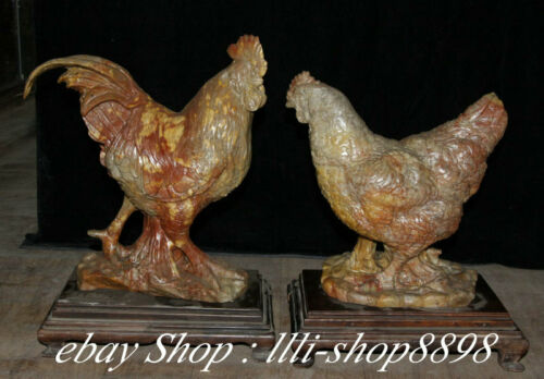 """14"""" Natural Shoushan Stone Fengshui Rooster hen cock Phonix Animal Statue Pair"""