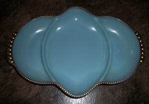FIRE KING TURQUOIS DIVIDED RELISH DISH