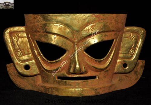 Old Chinese Dynasty Bronze 24k gold Sanxingdui Relics Human Mask vizard Statue