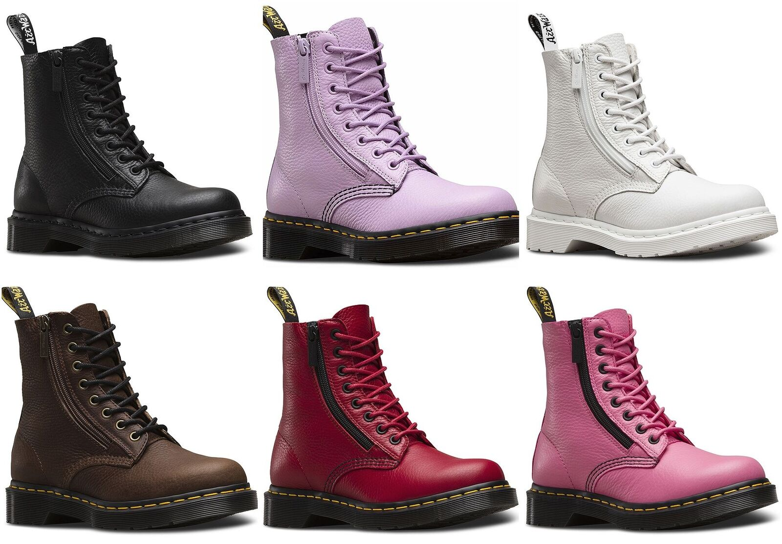ddd6c7cfdfd Dr Martens Ladies Pascal 1460 Aunt Sally Grizzly Leather Zip Leather Ankle  Boots