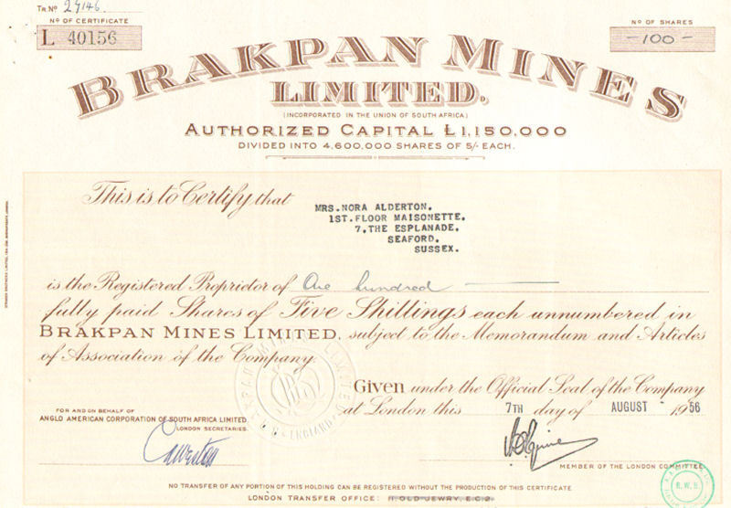 Brakpan Mines Limited  > 1956 London South Africa stock certificate