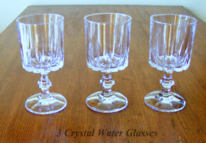 """Crystal Stemware, 3 Water Glasses 6"""" overall, clear bright glass"""
