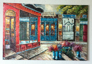 2 Large Parisian Wall Paintings, Hand Painted, NOT Print!