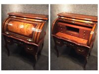 French Louis XV style walnut roll top desk
