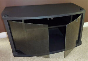 TV Stand With Smoke Glass Doors