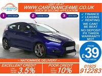 2014 FORD FIESTA 1.6 ECOBOOST ST1 GOOD / BAD CREDIT CAR FINANCE FROM 39 P/WK