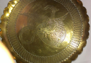 Nice gift Vintage engraved a pair of solid brass plates-$15